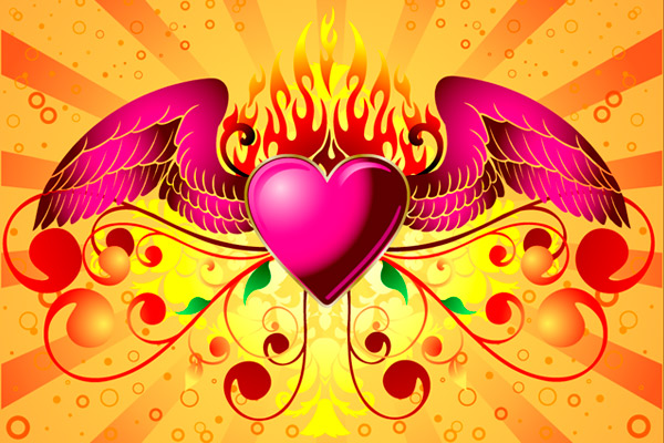 Ilustración de un corazón con alas