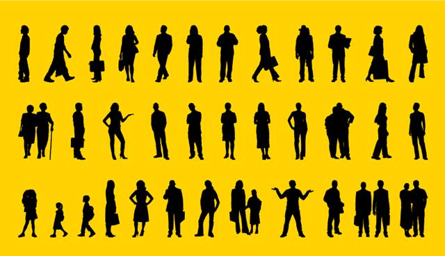Colección de siluetas de personas caminando