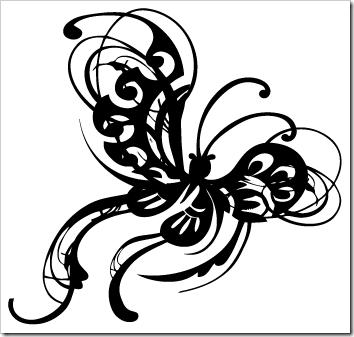 Ilustración vectorial de mariposa ornamental