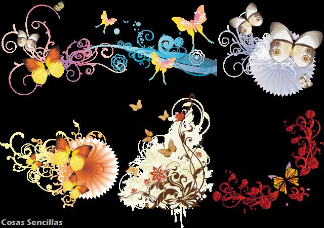 Mas recursos vectoriales sobre ilustraciones con mariposas