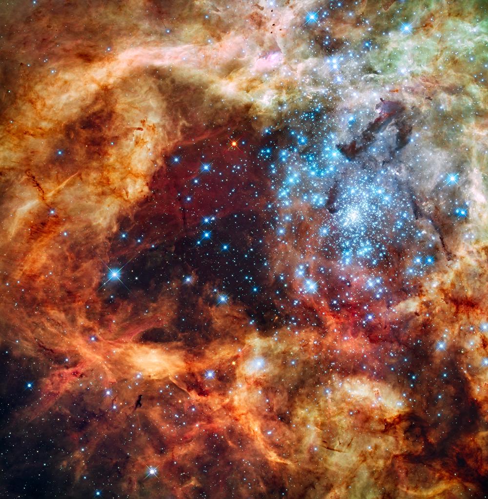 Gigantesca y joven agrupación estelar, llamada R136.